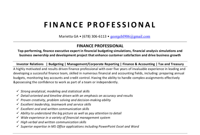 rewrite resume cover letter or linkedin