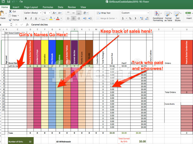 create a spreadsheet to calculate girl scout cookie. Black Bedroom Furniture Sets. Home Design Ideas