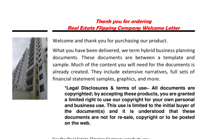 Real Estate House Flipping Company Business Plan