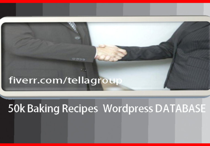 give you 50000+ or 50K recipes Wordpress database
