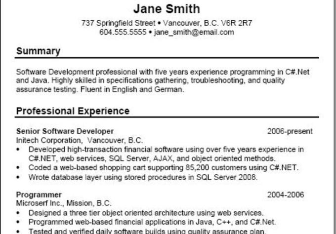 create a basic resume
