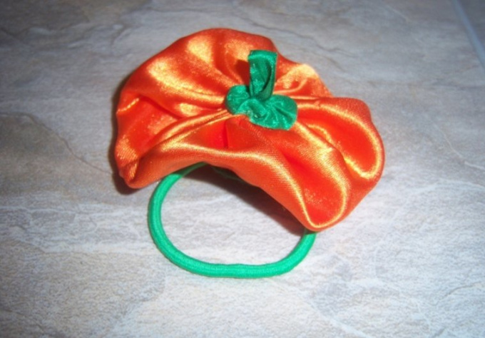 handsew you a halloween pumpkin rosette/flower hair accessory