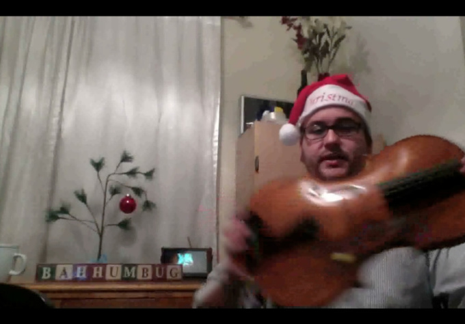 record a holiday/christmas musical greeting on my violin/viola