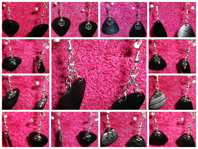 make vinyl record guitar pick earrings