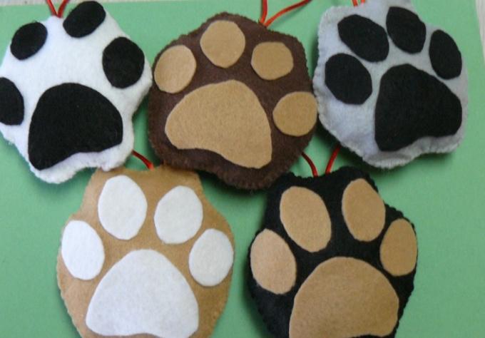 send you a handmade paw print ornament