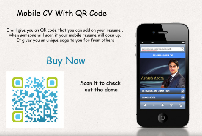 create editable mobile web resume cv with qr code