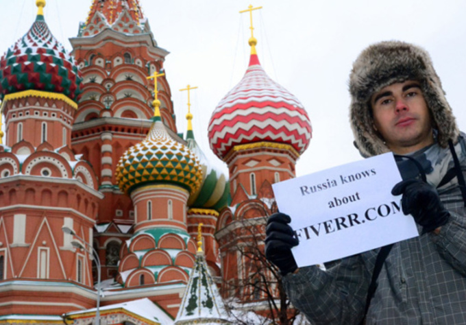 take a photo with your message in front of the most popular places in Moscow, Russia
