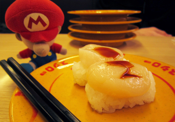 create a video game character sushi message