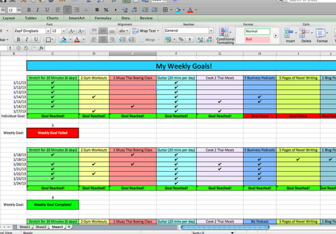 create a personalized GOAL manager spreadsheet