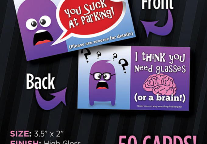 send You 20 You Suck at Parking Funny Window Business Cards