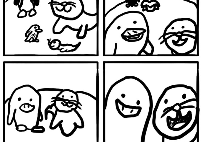 make a Simple black and white Four Panel comic