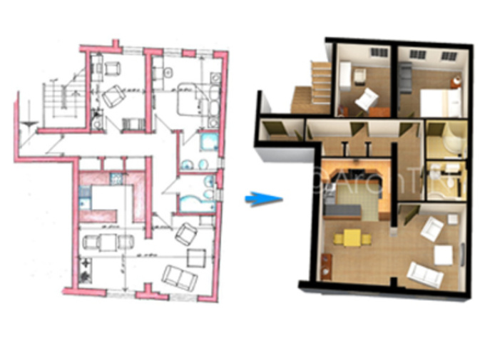 Convert your 2d floor plan into rendered 3d floor p for Turn floor plan into 3d model