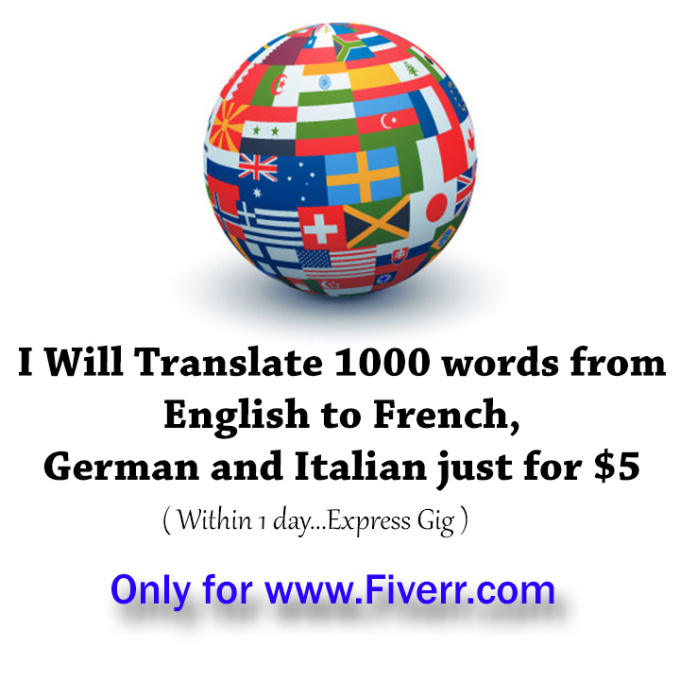 Italian Language Translation To English: TrANSLATE 1000 Words From English To French , German And