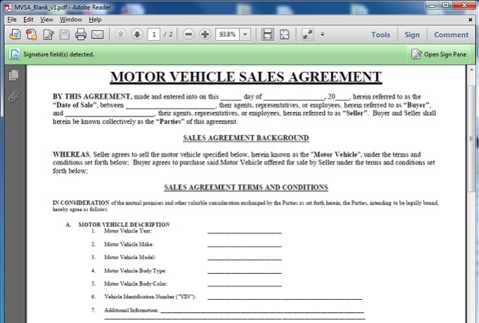Give you a motor vehicle sales contract template for Private party car sale contract template