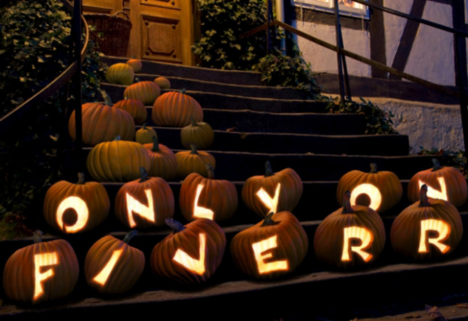 write your text with lighted Pumpkin for Halloween