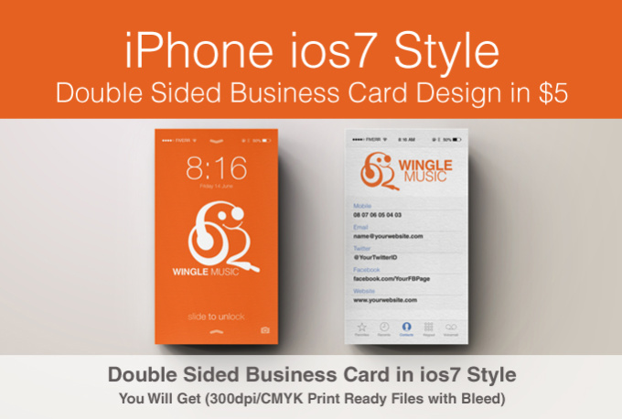 Design iphone style business card fiverr for Fiverr business cards