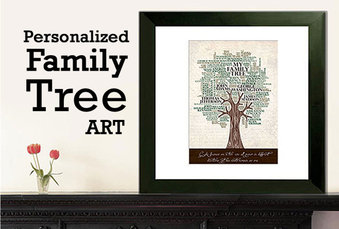 Create a personalized family tree print art poster