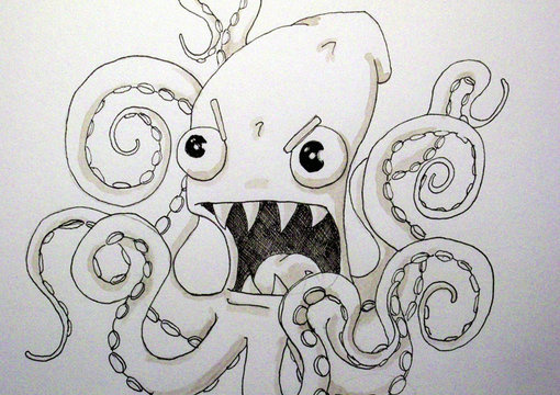 draw you an angry octopus squid monster fiverr. Black Bedroom Furniture Sets. Home Design Ideas
