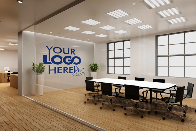 do a logo office interior mockup m3 fiverr. Black Bedroom Furniture Sets. Home Design Ideas