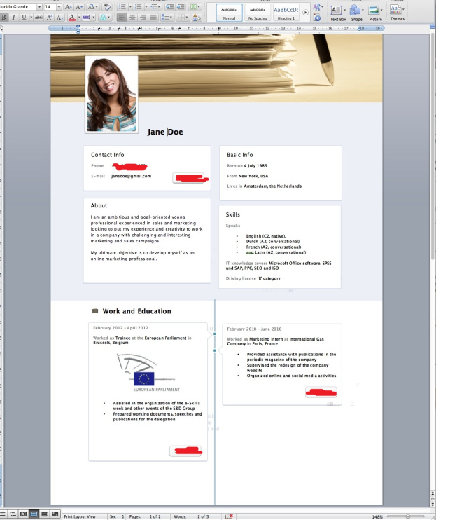 latest style of resumes