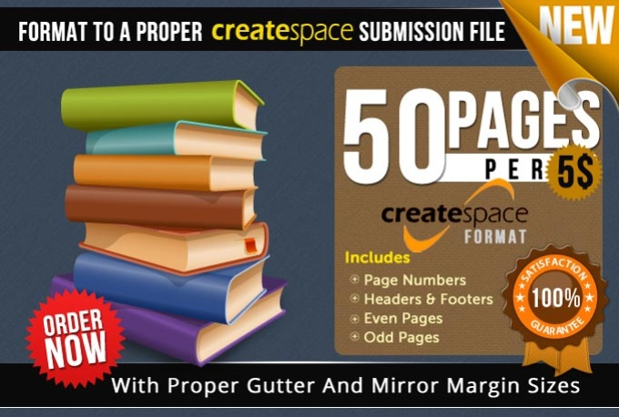 Format any book novel for createspace print file for Createspace formatted template