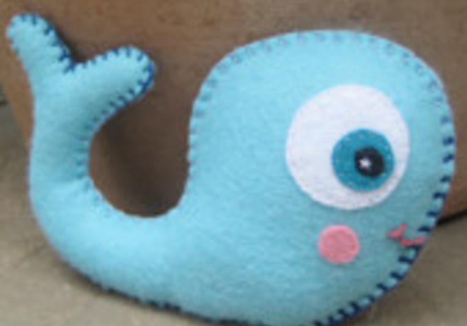 send you two handmade felt whales