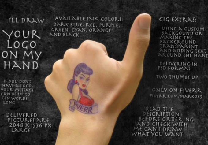 draw your logo on my hand and give you thumbs up