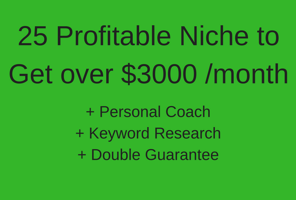 Get 25 Profitable Niche and Learn to get $3000/Month