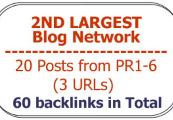 get you 20 blog posts from the SECOND Largest Blog Network from PR1 to 6 Domains