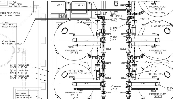 develop and review equipment and piping layout draw