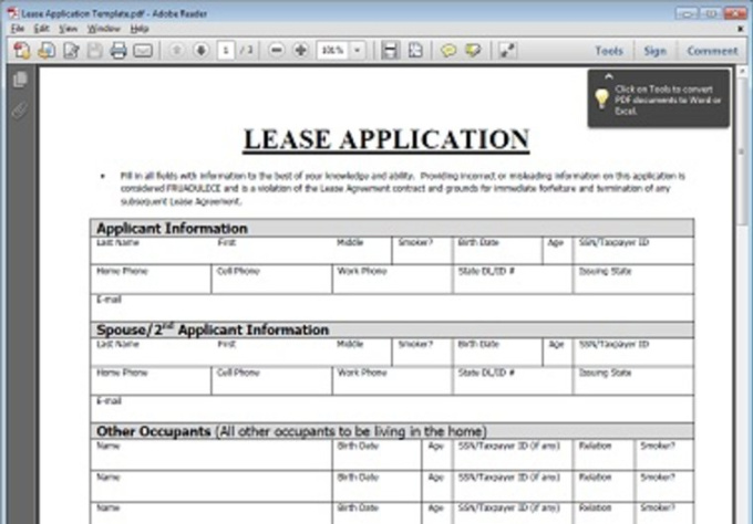 Give you a blank home rental client application for 100 questions to ask before renting an apartment