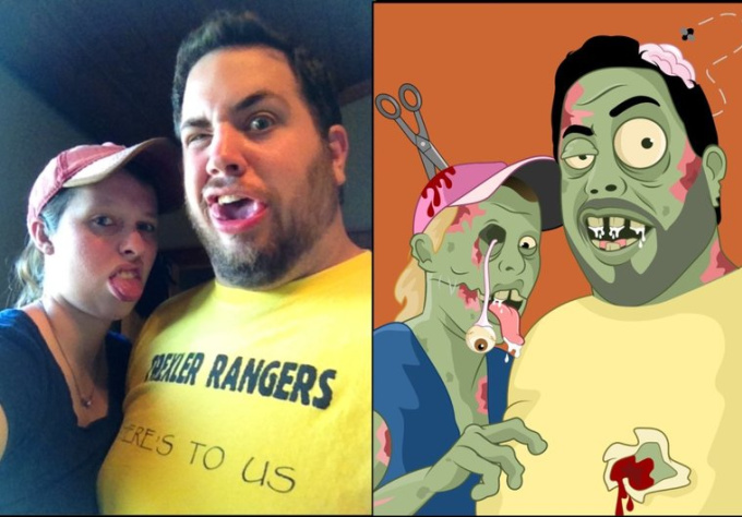 draw you as a hilarious fun cartoony zombie