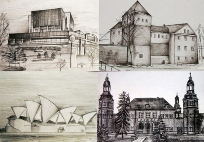 draw a realistic pencil drawing of building, car, landscape, etc