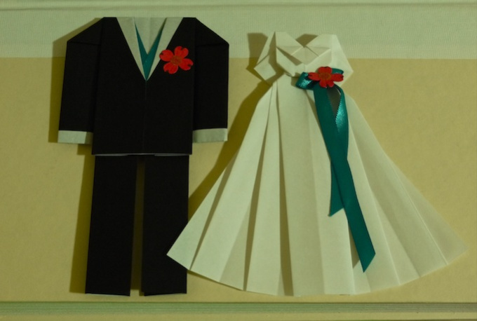 make you a pair of origami wedding dress and suit - photo#38