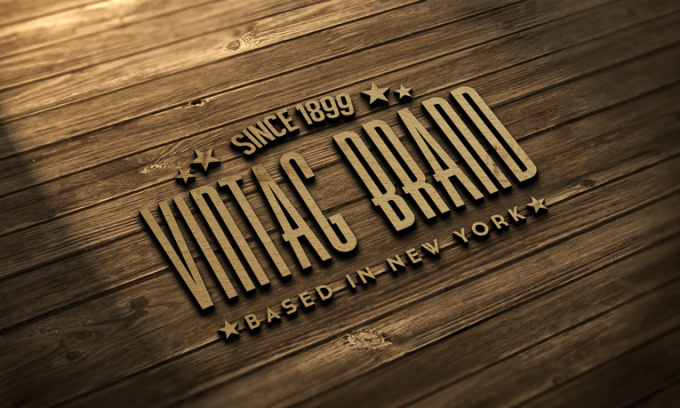 Transform your logo or text into 3d wooden mockup for Wood floor logo