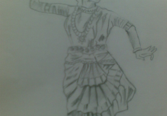 create a pencil or colored sketch of indian culture