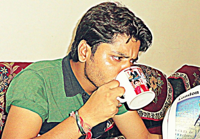promote you drinking cuppa with newspaper surprise
