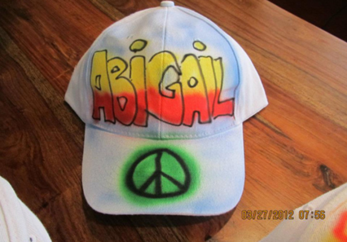 airbrush your name in graffiti style on a real cap