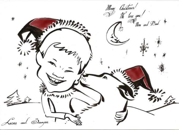 hand draw cute Christmas caricature portrait gift