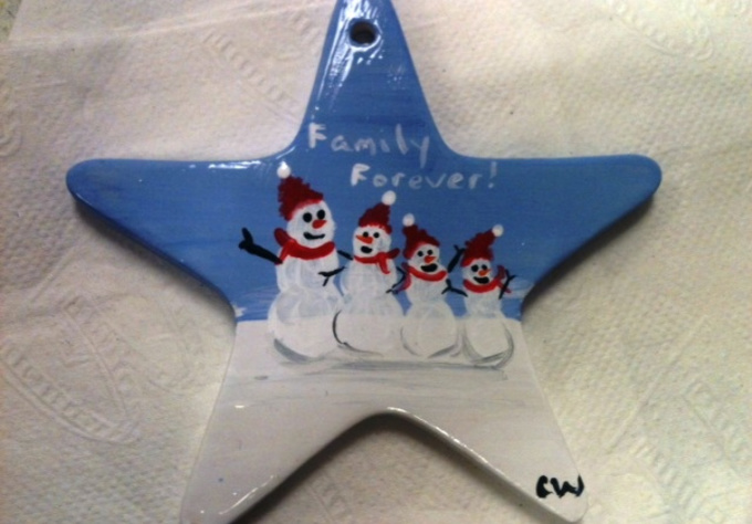 hand paint and personalize a snow family ceramic ornament for you