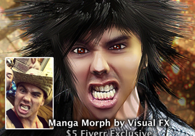 turn you into a cool realistic MANGA