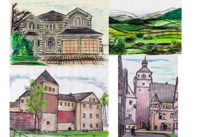 draw, paint a watercolour painting of house, pet, car, landscape and more