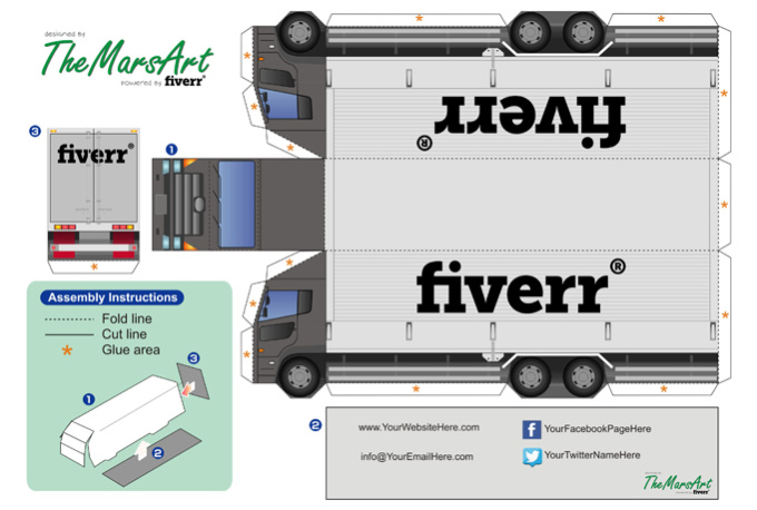 Create A Simple Truck Paper Model From Your Logo