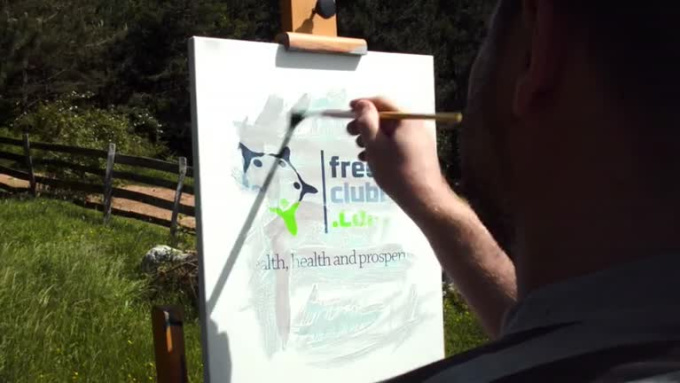 v painting video logo