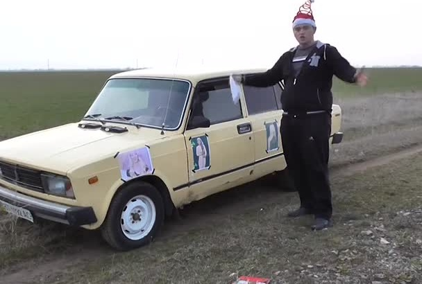 go to russian retro car and congratulate sing a song to your friends