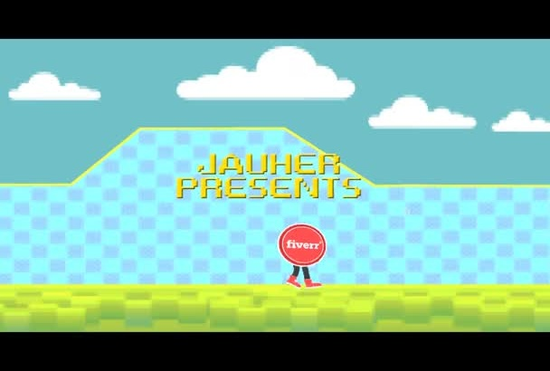 create a retro video game intro with your logo and text