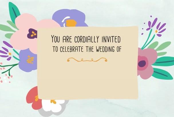 create animated video for wedding invitation Announcement