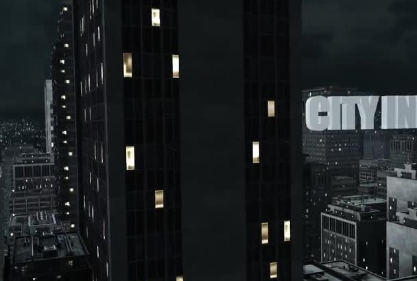create a 3D night city intro
