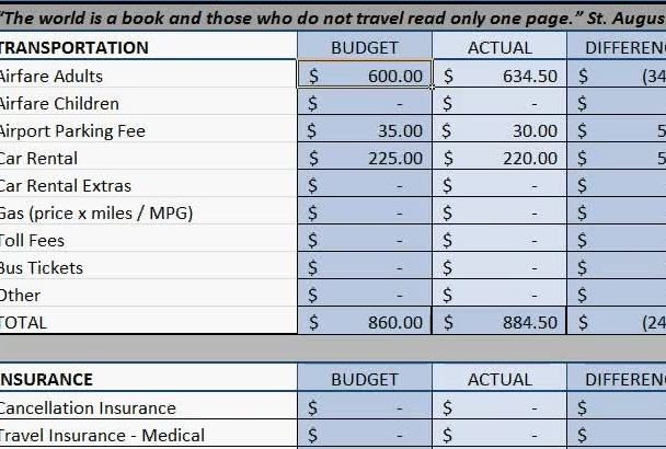 email a travel budget spreadsheet