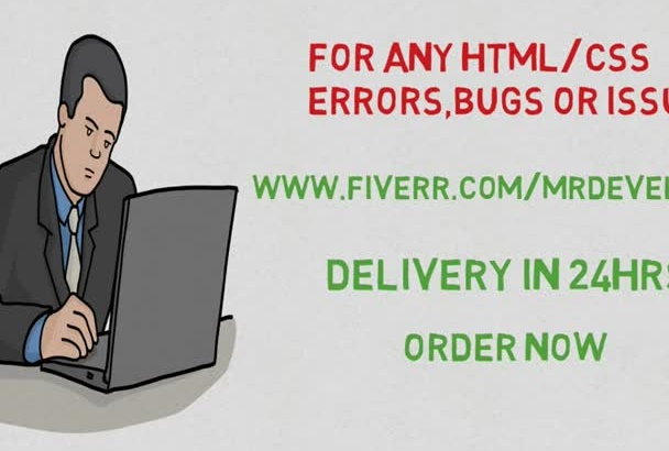 fix any html,css errors,bugs or issues